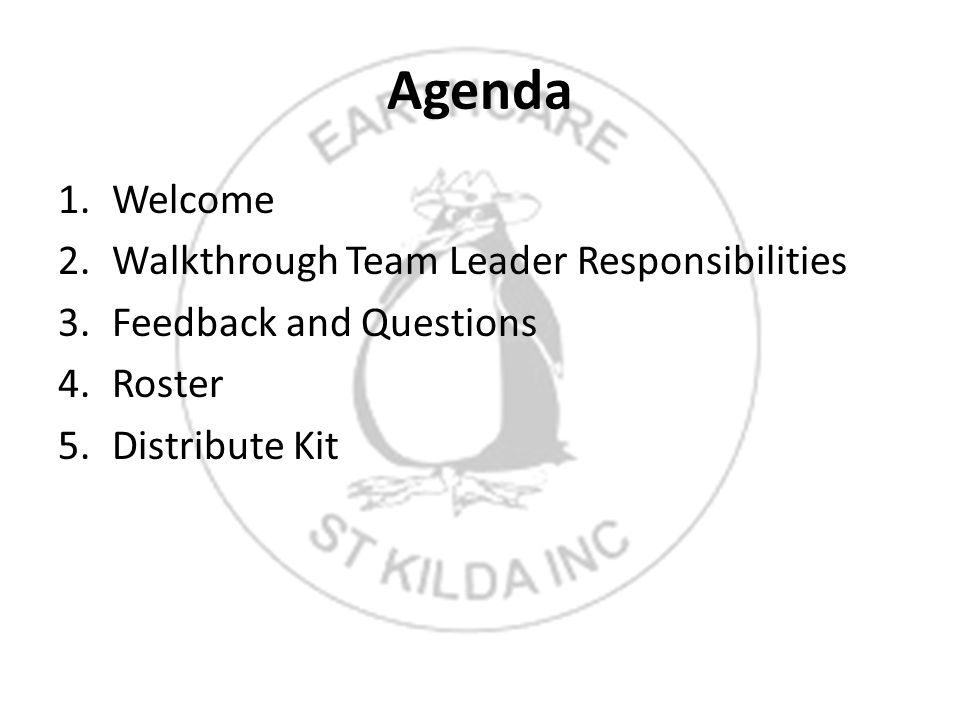 Agenda 1.Welcome 2.Walkthrough Team Leader Responsibilities 3.Feedback and Questions 4.Roster 5.Distribute Kit