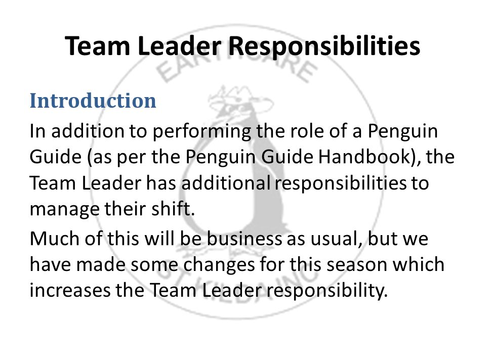 Team Leader Responsibilities Introduction In addition to performing the role of a Penguin Guide (as per the Penguin Guide Handbook), the Team Leader has additional responsibilities to manage their shift.