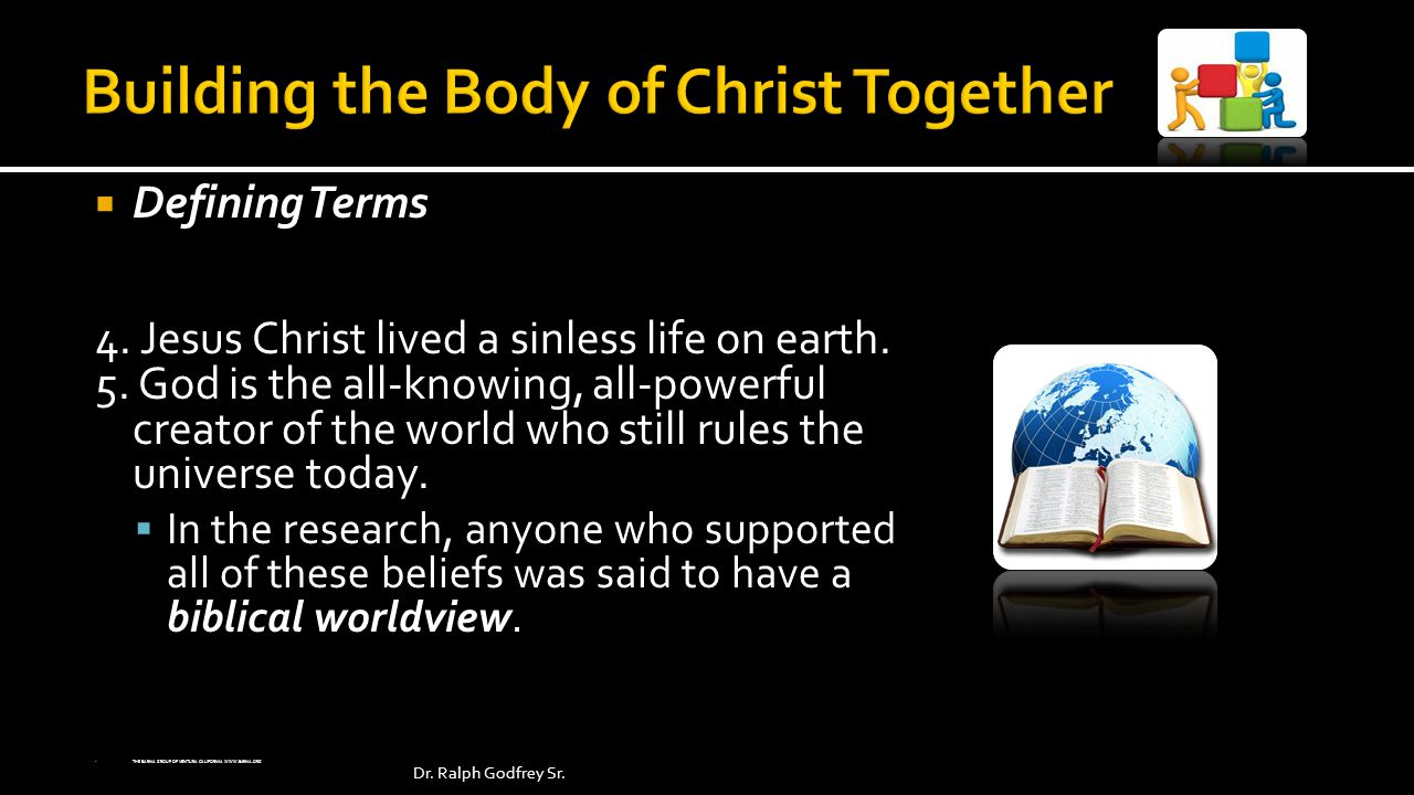 Defining Terms 4. Jesus Christ lived a sinless life on earth.