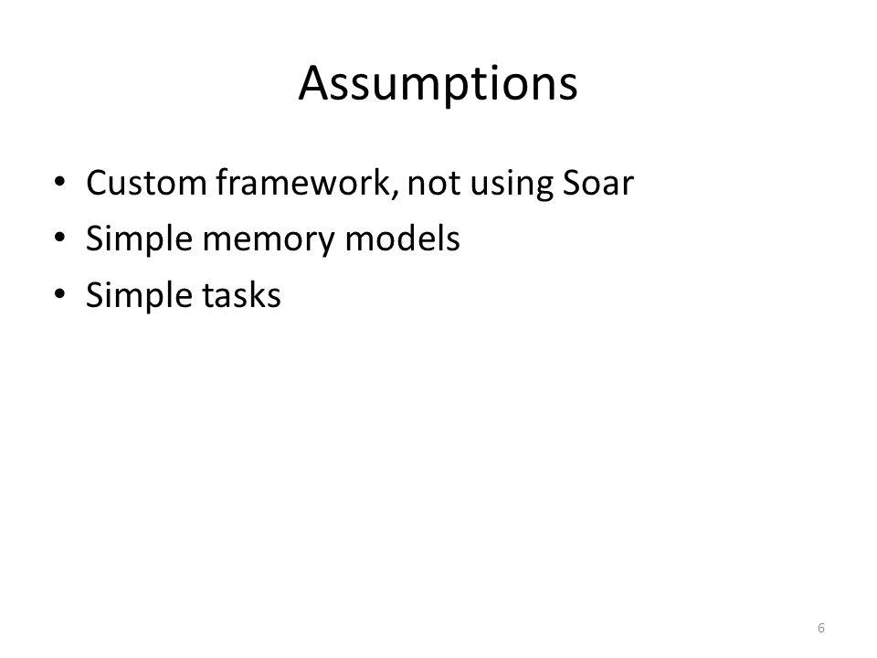 Assumptions Custom framework, not using Soar Simple memory models Simple tasks 6