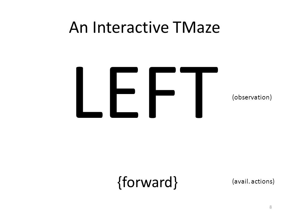 An Interactive TMaze LEFT (observation) {forward} (avail. actions) 8