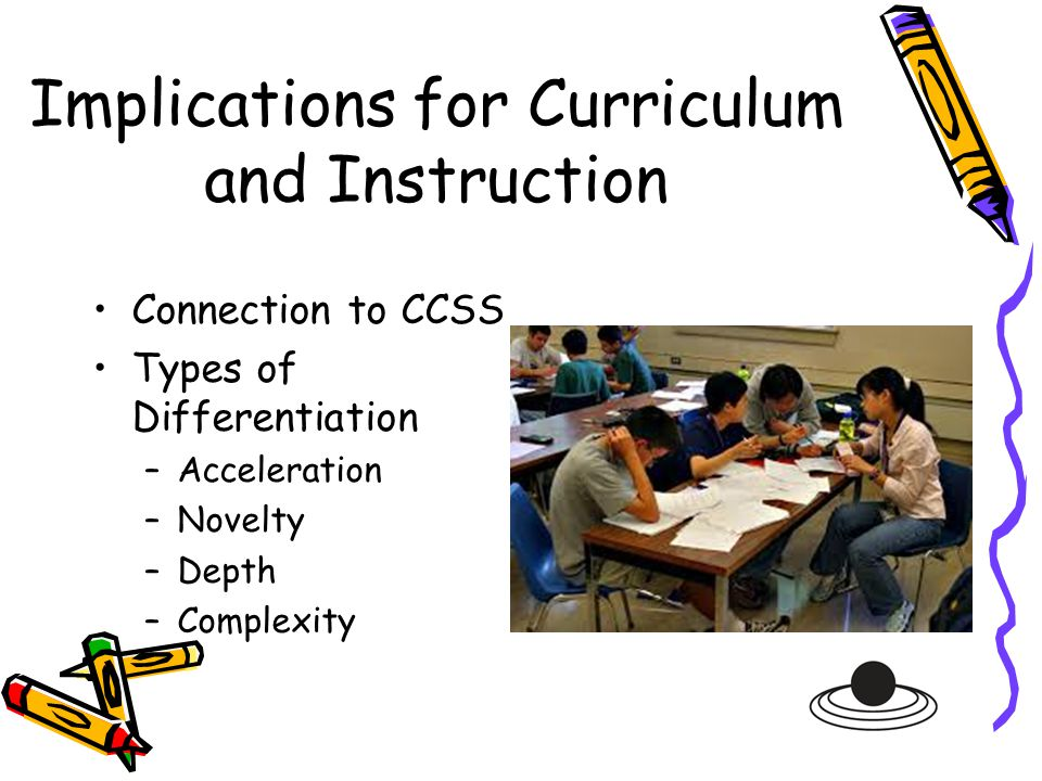 Implications for Curriculum and Instruction Connection to CCSS Types of Differentiation –Acceleration –Novelty –Depth –Complexity