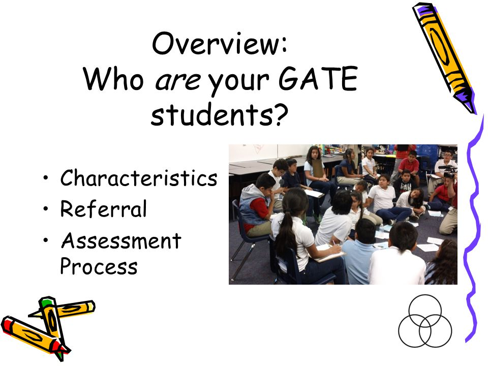 Overview: Who are your GATE students? Characteristics Referral Assessment Process