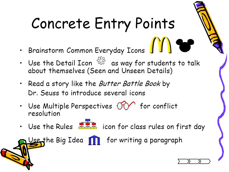 Concrete Entry Points Brainstorm Common Everyday Icons Use the Detail Icon as way for students to talk about themselves (Seen and Unseen Details) Read