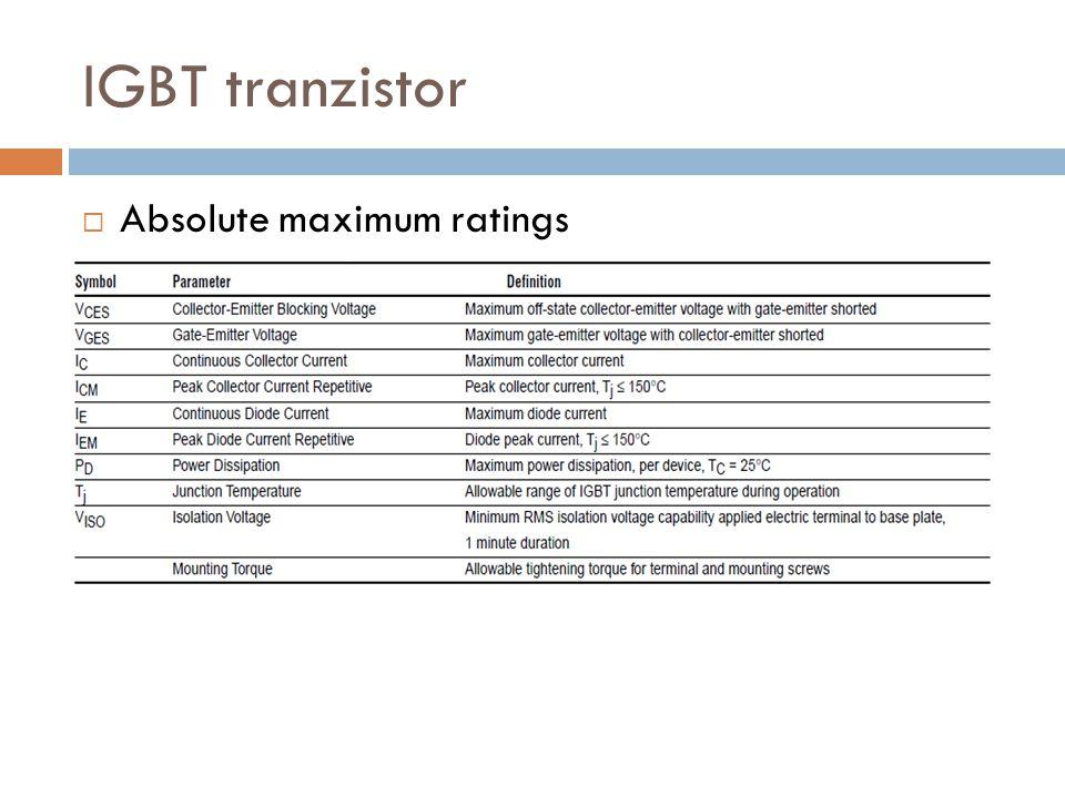 IGBT tranzistor Absolute maximum ratings