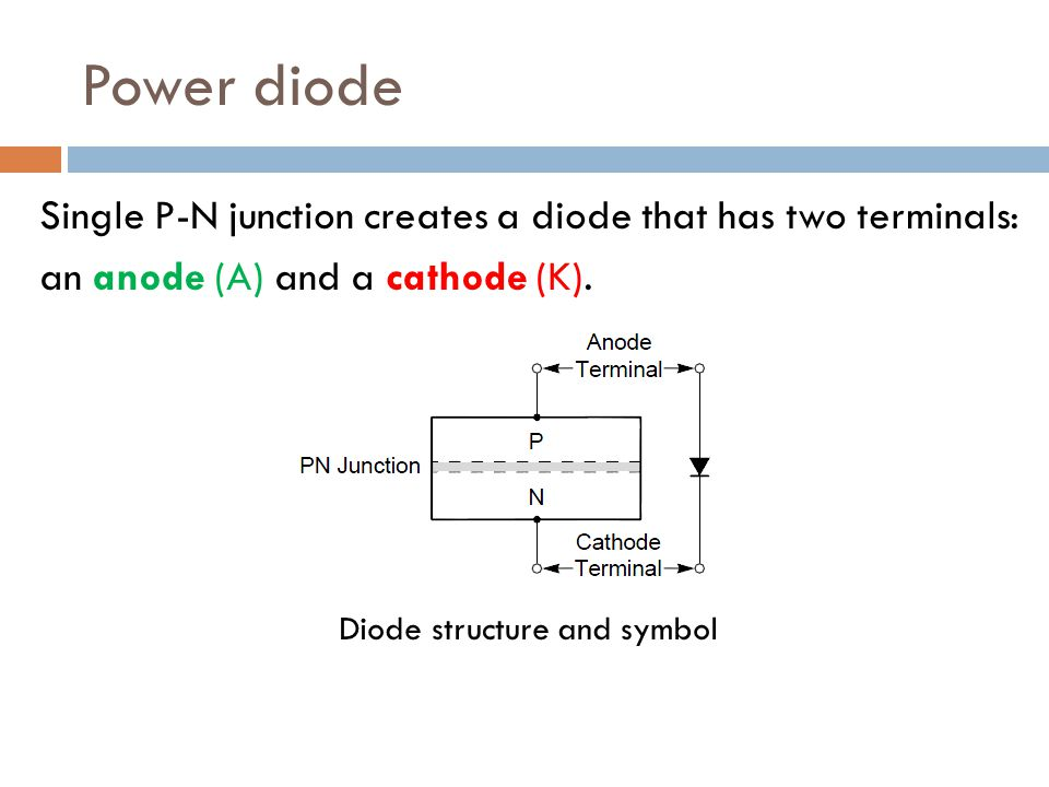 Power diode Single P-N junction creates a diode that has two terminals: an anode (A) and a cathode (K). Diode structure and symbol
