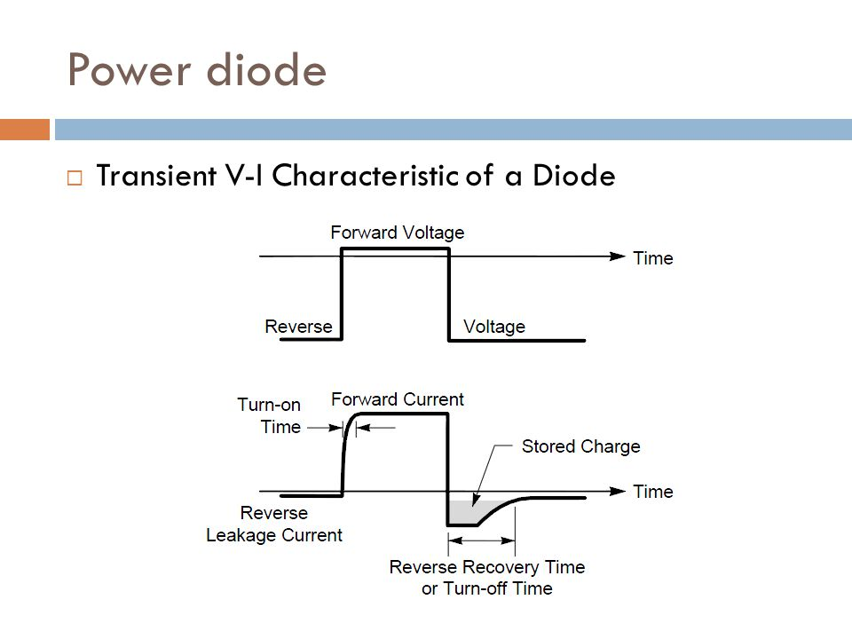Power diode Main requirements: reverse voltage U r as high as possible voltage drop U F as low as possible turn-off speed as high as possible Q rr (reverse recovery charge) as low as possible