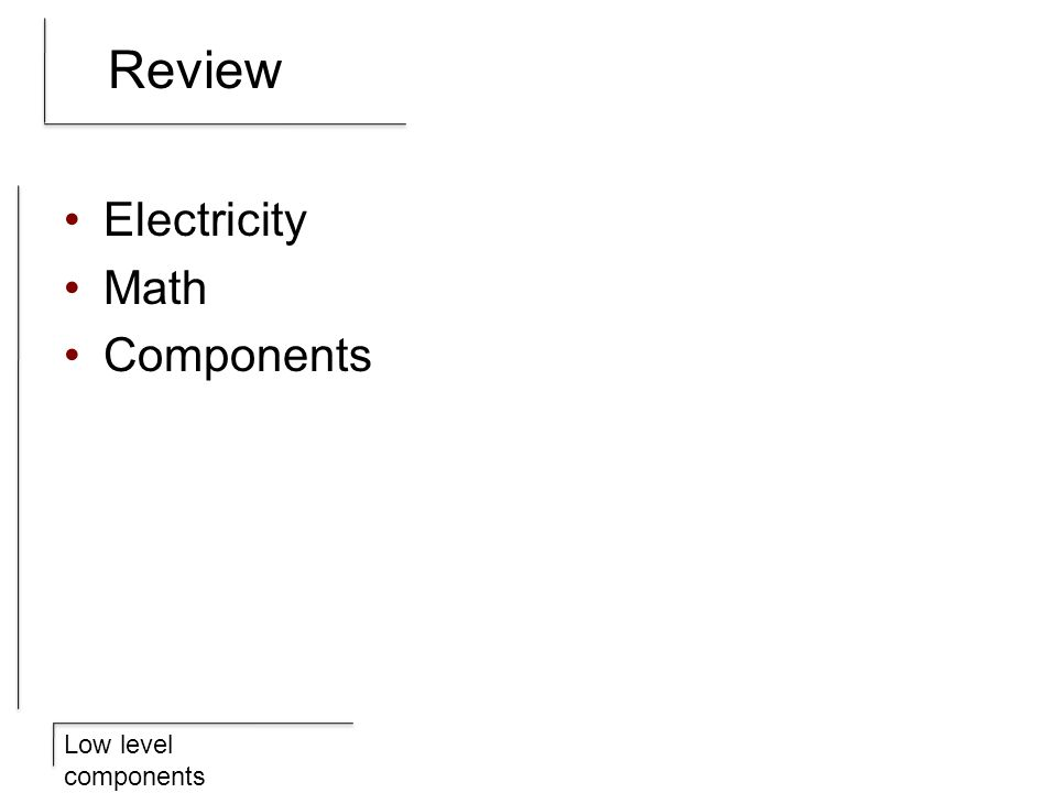Review Electricity Math Components
