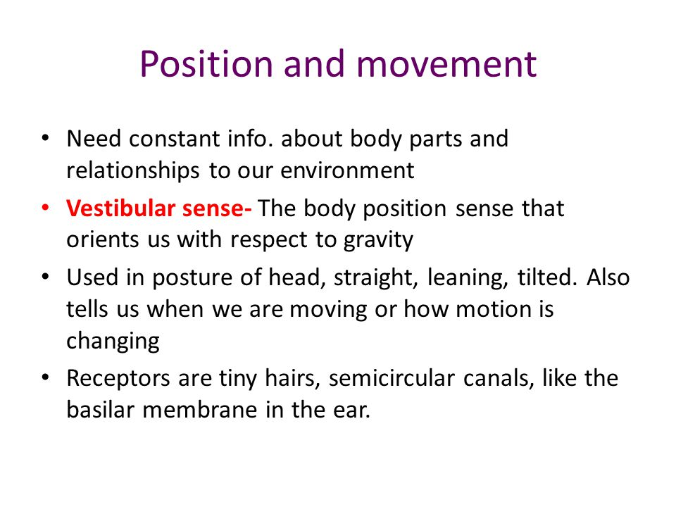 Position and movement Need constant info.