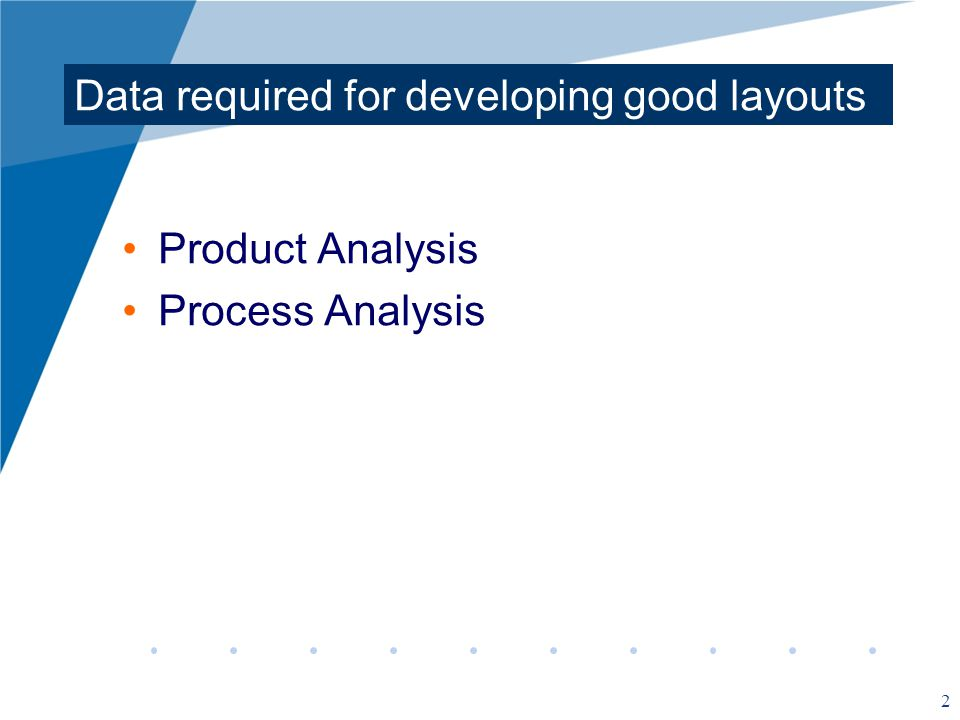 2 Data required for developing good layouts Product Analysis Process Analysis