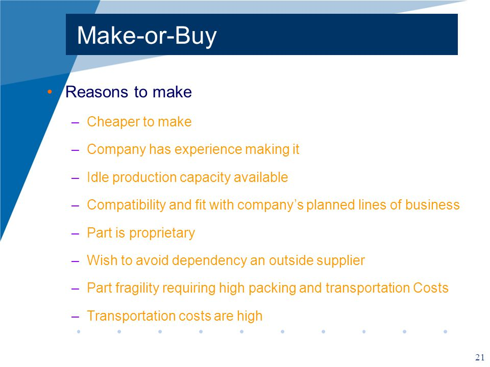 21 Make-or-Buy Reasons to make –Cheaper to make –Company has experience making it –Idle production capacity available –Compatibility and fit with companys planned lines of business –Part is proprietary –Wish to avoid dependency an outside supplier –Part fragility requiring high packing and transportation Costs –Transportation costs are high
