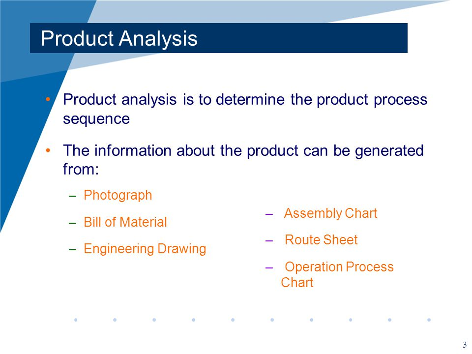 3 Product Analysis Product analysis is to determine the product process sequence The information about the product can be generated from: –Photograph –Bill of Material –Engineering Drawing – Assembly Chart – Route Sheet – Operation Process Chart