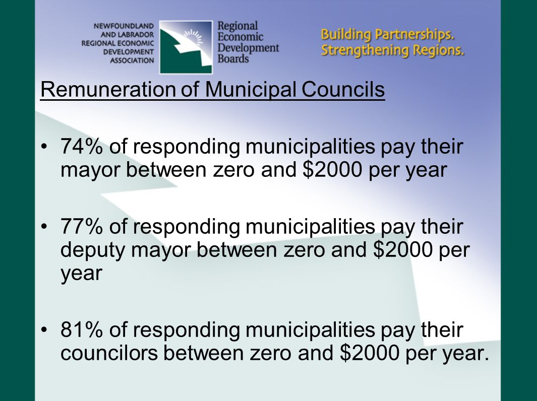 Remuneration of Municipal Councils 74% of responding municipalities pay their mayor between zero and $2000 per year 77% of responding municipalities p