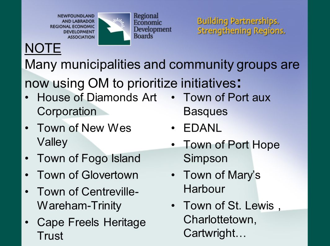 NOTE Many municipalities and community groups are now using OM to prioritize initiatives : House of Diamonds Art Corporation Town of New Wes Valley Town of Fogo Island Town of Glovertown Town of Centreville- Wareham-Trinity Cape Freels Heritage Trust Town of Port aux Basques EDANL Town of Port Hope Simpson Town of Marys Harbour Town of St.