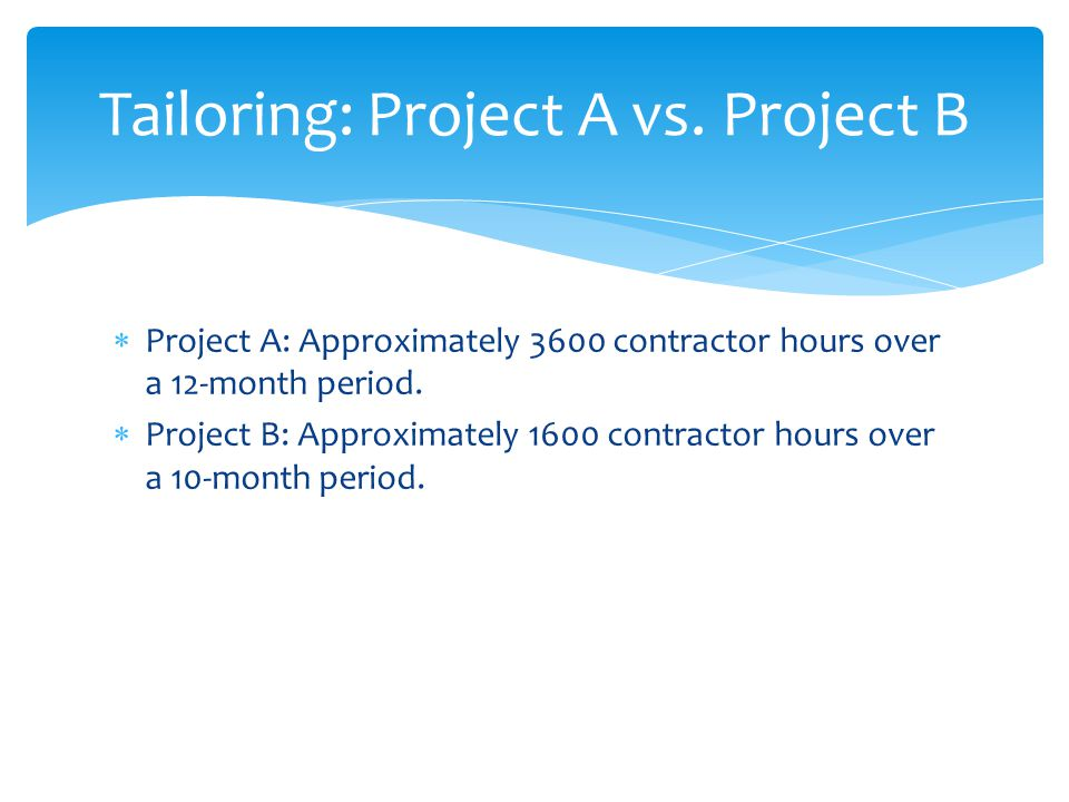 Project A: Approximately 3600 contractor hours over a 12-month period.