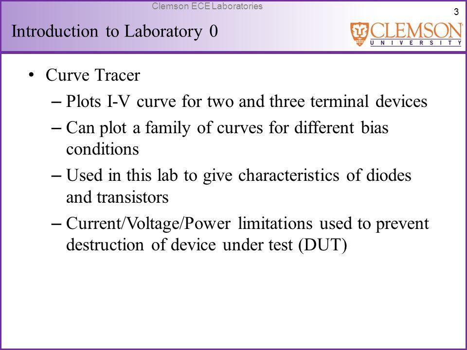 54 Clemson ECE Laboratories Equivalent Circuit R o ignored Mesh analysis V π = V s V o = -(R C //R L )g m V π A v = -(R C //R L )g m g m = I CQ /V T When R C = R L, A v = -R C I CQ /2V T