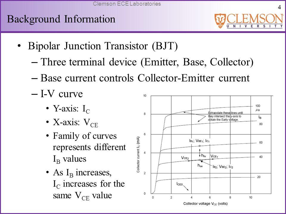 55 Clemson ECE Laboratories Design Calculations R ac = 2.35k I CQ = 1.277 mA V CEQ = 3V V BB = 1.014 V β = 200 I BQ = 6.649 A h ie = 4.073k h ib = 20.37 R dc = 5.797k R E = 1.097k R 2 = 28.26k R 1 = 97.92k