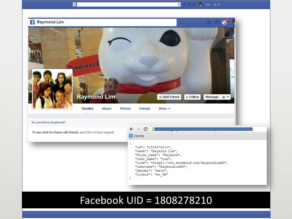 Facebook UID = 1808278210
