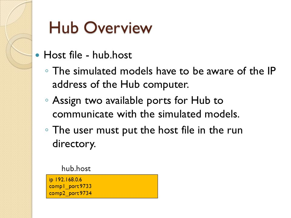 Hub Overview Host file - hub.host The simulated models have to be aware of the IP address of the Hub computer. Assign two available ports for Hub to c