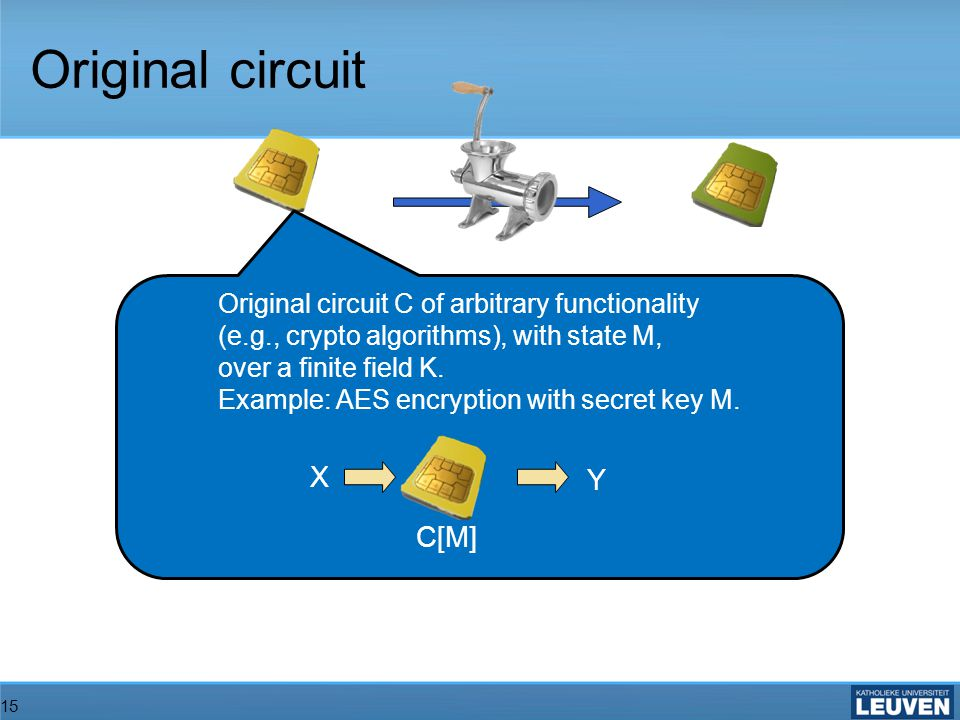 15 Original circuit Original circuit C of arbitrary functionality (e.g., crypto algorithms), with state M, over a finite field K.