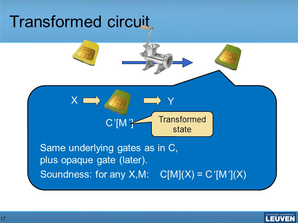 17 Transformed circuit C [M ]C [M ] X Y Same underlying gates as in C, plus opaque gate (later).