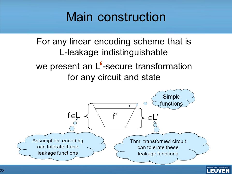 23 For any linear encoding scheme that is L-leakage indistinguishable we present an L -secure transformation for any circuit and state f f L Simple functions Thm: transformed circuit can tolerate these leakage functions Assumption: encoding can tolerate these leakage functions L Main construction