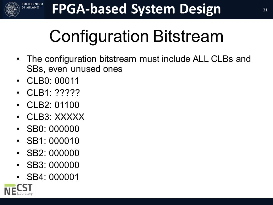 FPGA-based System Design Configuration Bitstream The configuration bitstream must include ALL CLBs and SBs, even unused ones CLB0: 00011 CLB1: ????? C