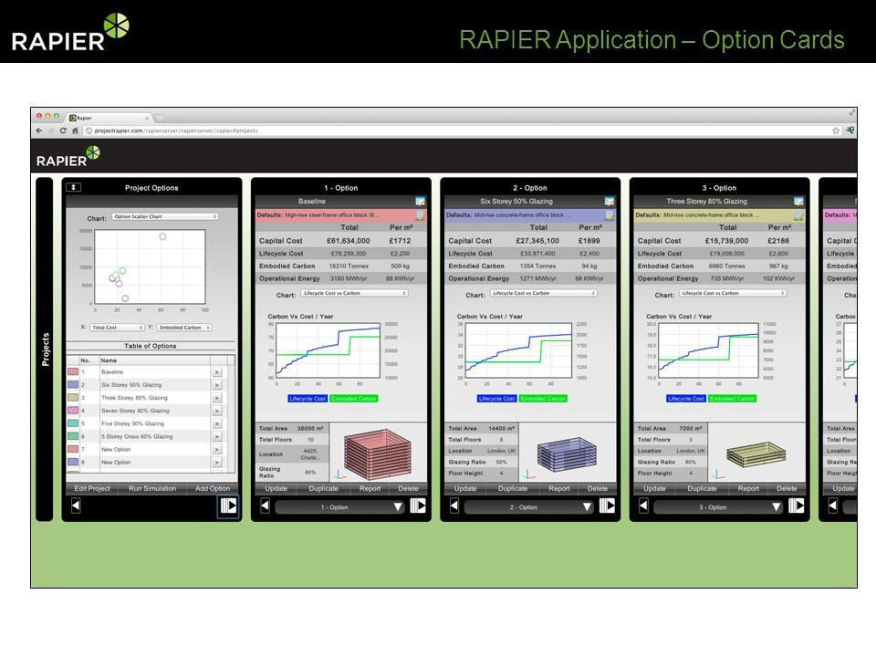 RAPIER Application – Option Cards
