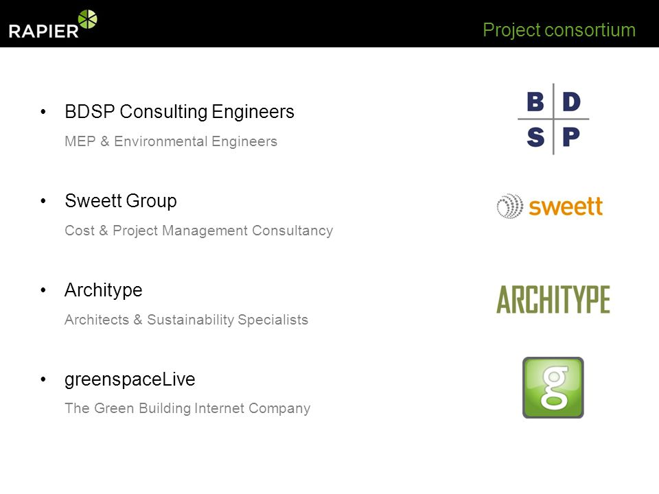 Project consortium BDSP Consulting Engineers MEP & Environmental Engineers Sweett Group Cost & Project Management Consultancy Architype Architects & Sustainability Specialists greenspaceLive The Green Building Internet Company
