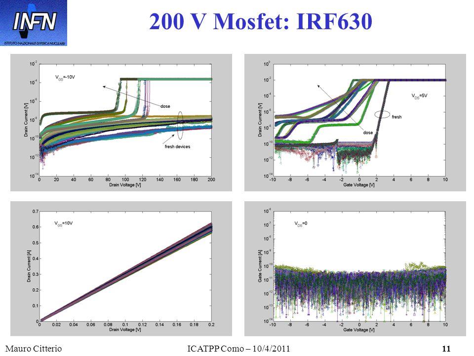 Mauro CitterioICATPP Como – 10/4/201111 200 V Mosfet: IRF630