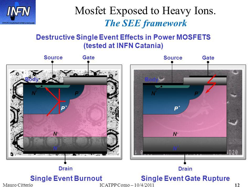 Mauro CitterioICATPP Como – 10/4/201112 Mosfet Exposed to Heavy Ions. The SEE framework Drain P + N + P _ GateSource N _ Body N + Drain P + N + P _ Ga