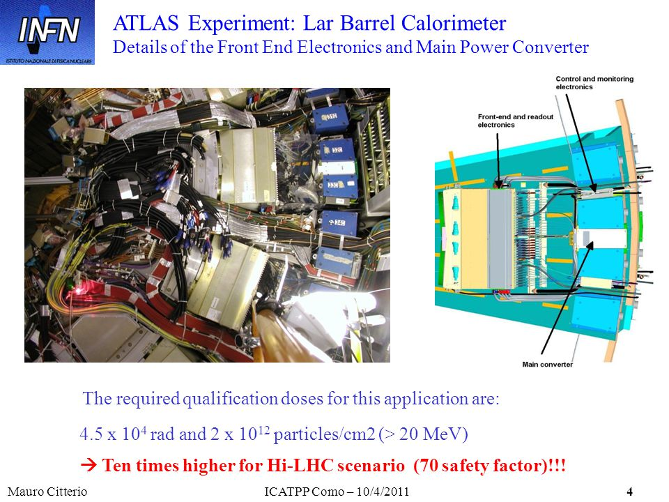 Mauro CitterioICATPP Como – 10/4/20114 The required qualification doses for this application are: 4.5 x 10 4 rad and 2 x 10 12 particles/cm2 (> 20 MeV) Ten times higher for Hi-LHC scenario (70 safety factor)!!.
