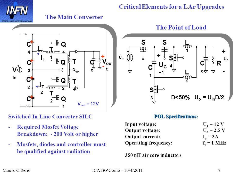 Mauro CitterioICATPP Como – 10/4/20117 The Main Converter Q1Q1 Q2Q2 Q3Q3 Q4Q4 T1T1 CoCo C4C4 L V in V ou t + - C3C3 C2C2 C1C1 T2T2 T3T3 iT2iT2 iLiL T4