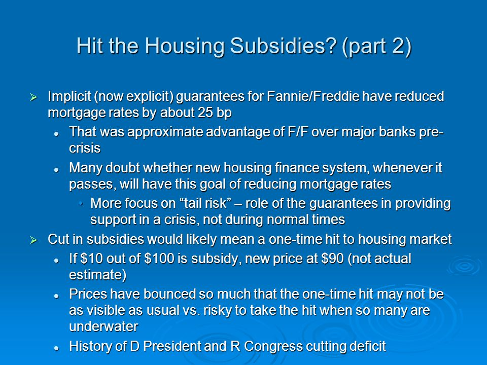 Republicans in Congress Tea Party – end subsidies, spending, and bailouts Tea Party – end subsidies, spending, and bailouts Housing subsidies can be cutHousing subsidies can be cut Allies with home builders, realtors, etc.