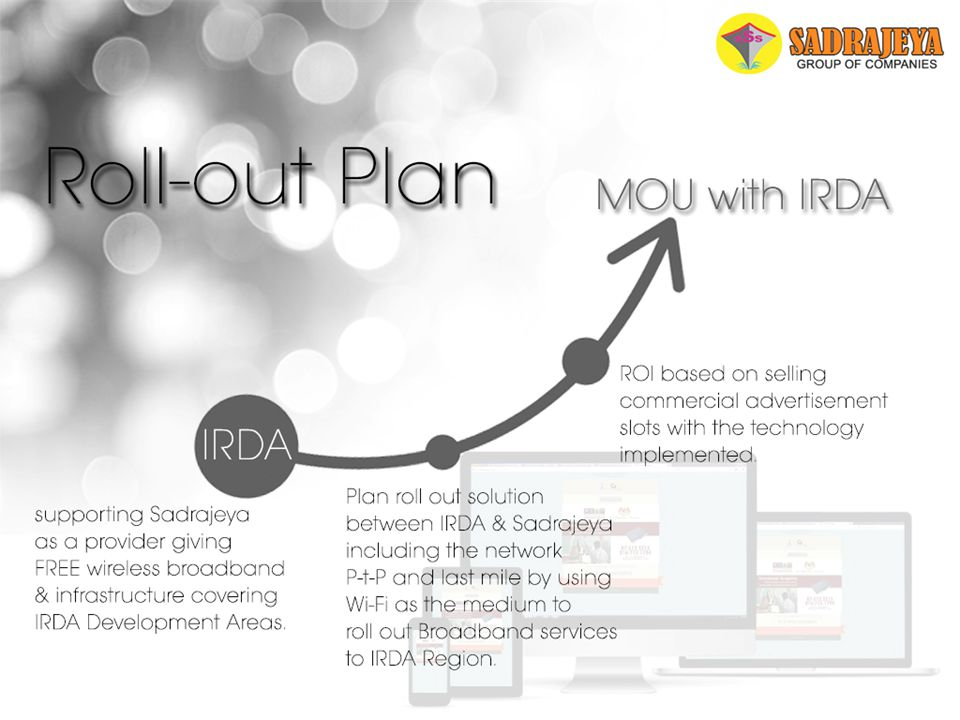 Roll-out Plan IRDA supporting Sadrajeya as a provider giving FREE wireless broadband & infrastructure covering IRDA Development Areas. Plan roll out s
