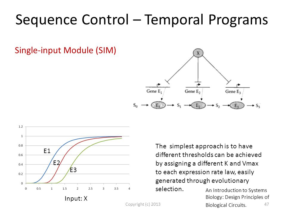Sequence Control – Temporal Programs Copyright (c) 201347 Single-input Module (SIM) The simplest approach is to have different thresholds can be achieved by assigning a different K and Vmax to each expression rate law, easily generated through evolutionary selection.
