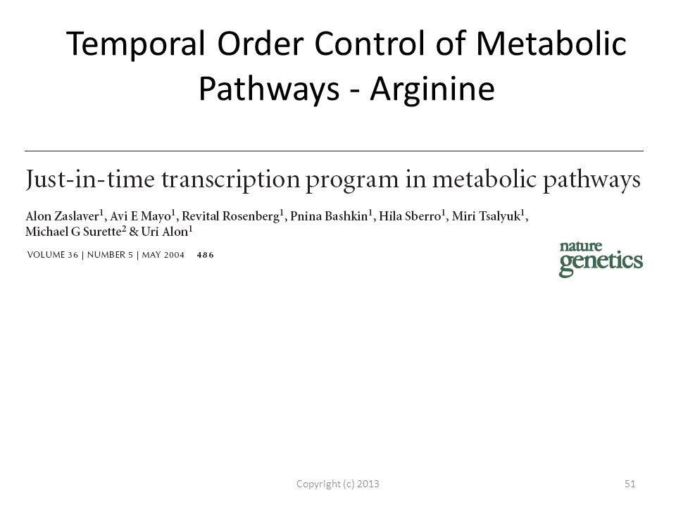 Temporal Order Control of Metabolic Pathways - Arginine Copyright (c) 201351