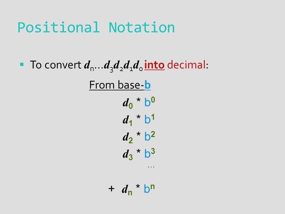 Positional Notation To convert d n...