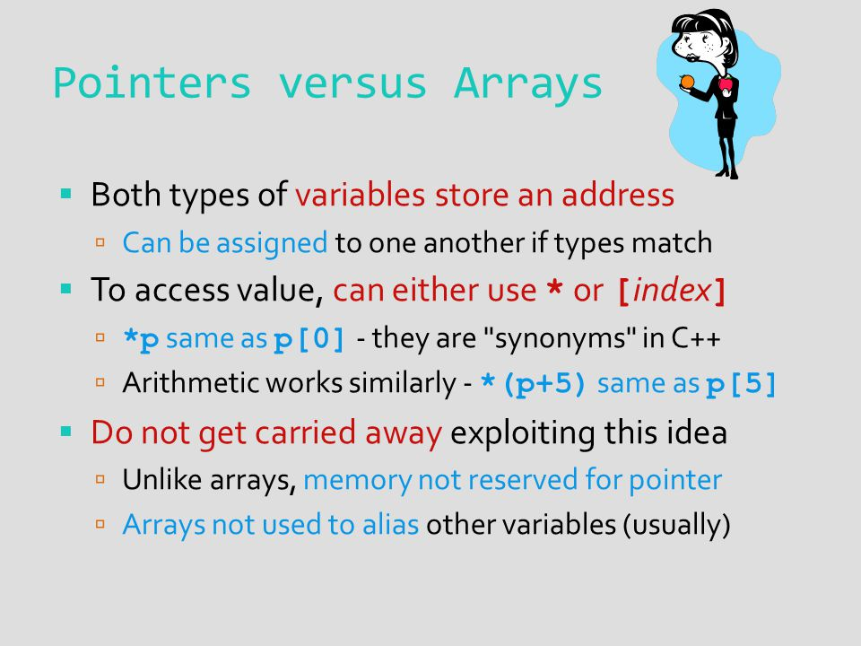 Pointers versus Arrays Both types of variables store an address Can be assigned to one another if types match To access value, can either use * or [ index ] *p same as p[0] - they are synonyms in C++ Arithmetic works similarly - *(p+5) same as p[5] Do not get carried away exploiting this idea Unlike arrays, memory not reserved for pointer Arrays not used to alias other variables (usually)