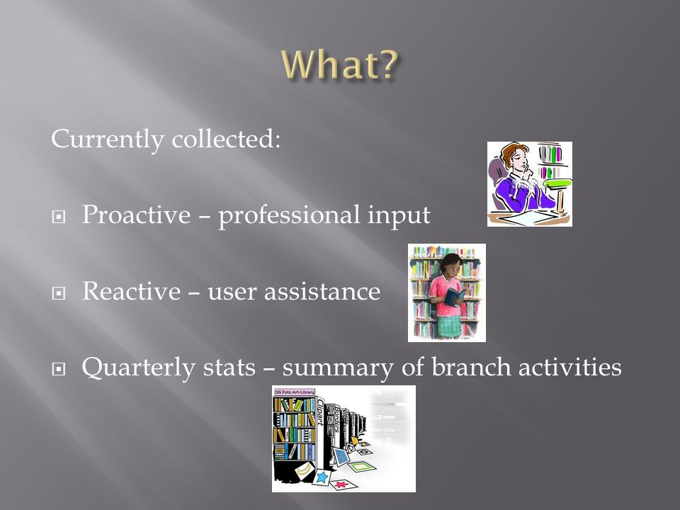 Currently collected: Proactive – professional input Reactive – user assistance Quarterly stats – summary of branch activities