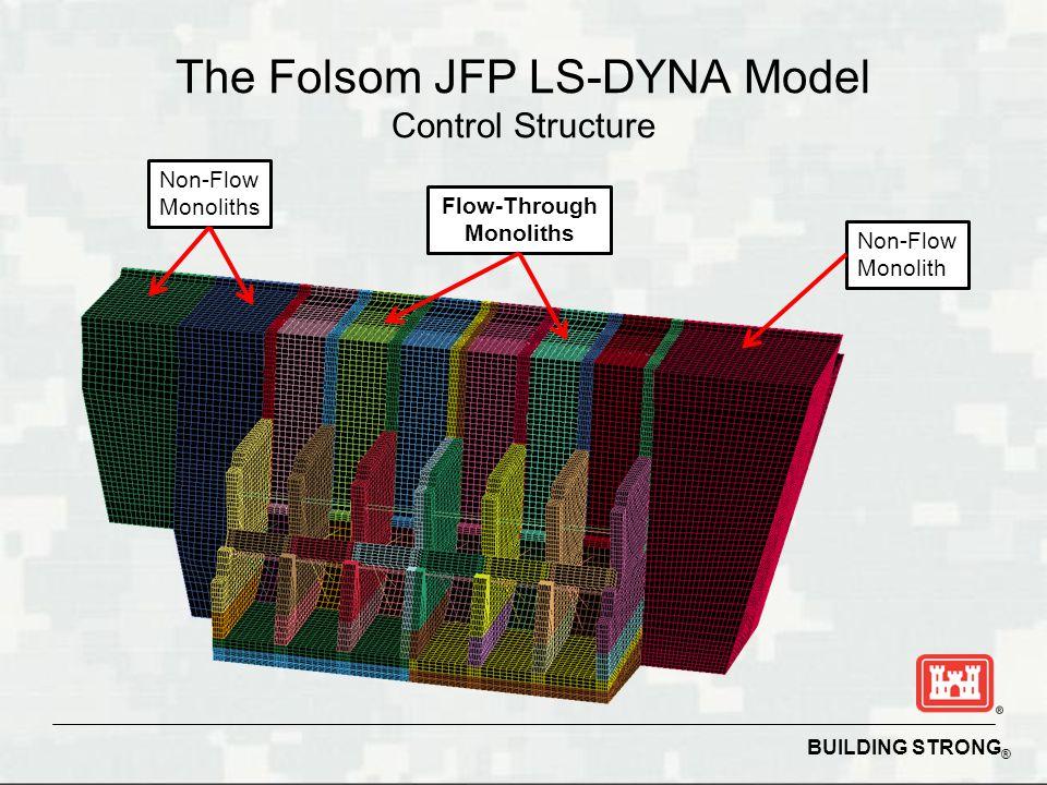 BUILDING STRONG ® The Folsom JFP LS-DYNA Model Control Structure Non-Flow Monoliths Non-Flow Monolith Flow-Through Monoliths