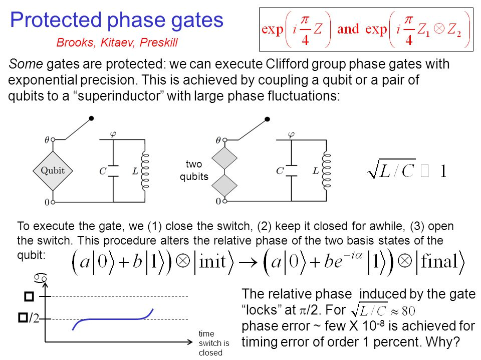 Protected phase gates Some gates are protected: we can execute Clifford group phase gates with exponential precision.