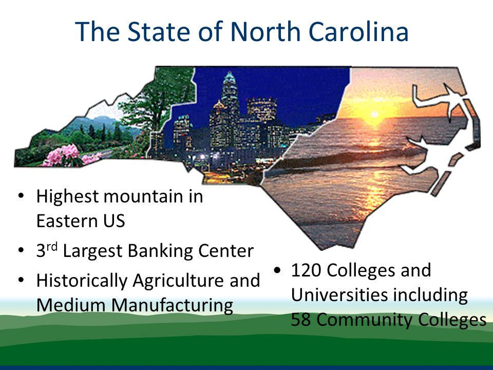 Highest mountain in Eastern US 3 rd Largest Banking Center Historically Agriculture and Medium Manufacturing The State of North Carolina 120 Colleges and Universities including 58 Community Colleges