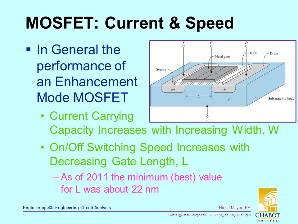 BMayer@ChabotCollege.edu ENGR-43_Lec-12a_FETs-1.pptx 12 Bruce Mayer, PE Engineering-43: Engineering Circuit Analysis MOSFET: Current & Speed In Genera