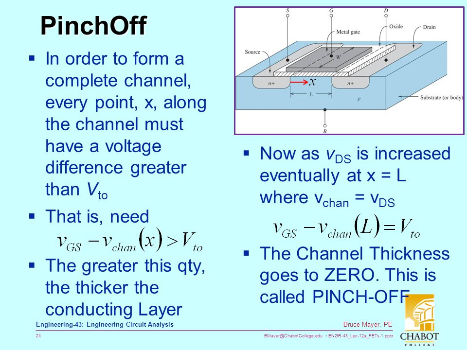 BMayer@ChabotCollege.edu ENGR-43_Lec-12a_FETs-1.pptx 24 Bruce Mayer, PE Engineering-43: Engineering Circuit Analysis PinchOff In order to form a compl