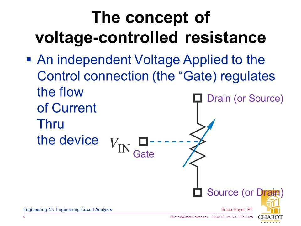 BMayer@ChabotCollege.edu ENGR-43_Lec-12a_FETs-1.pptx 5 Bruce Mayer, PE Engineering-43: Engineering Circuit Analysis The concept of voltage-controlled