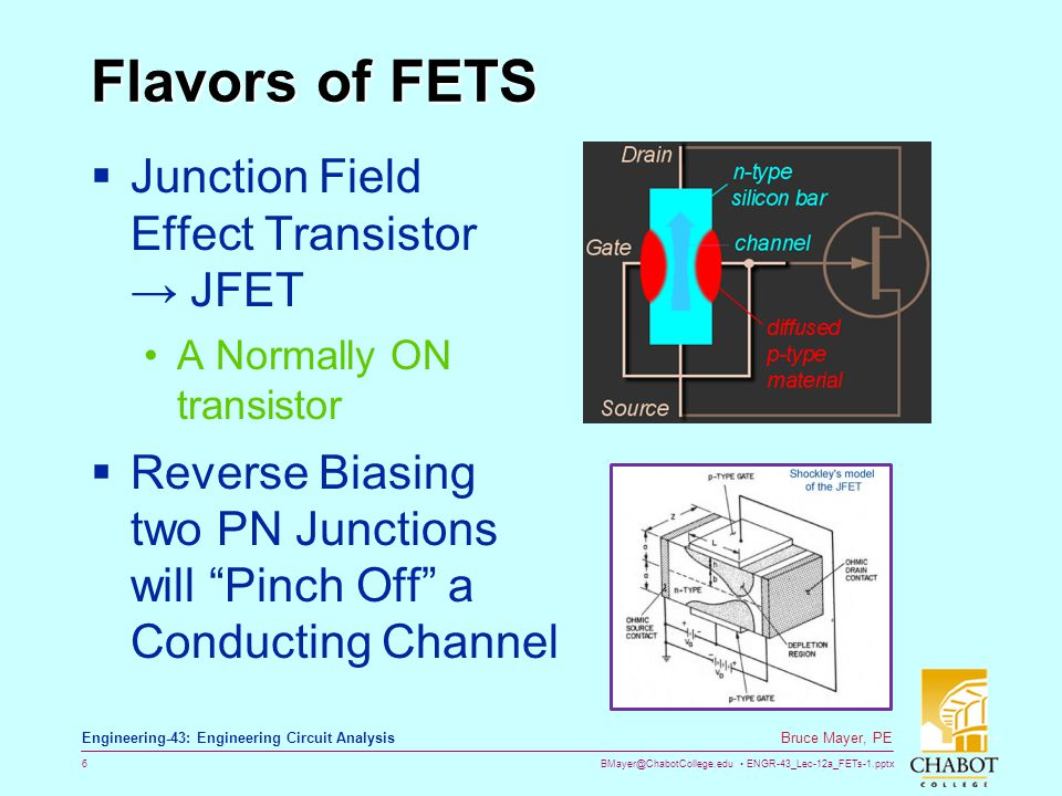 BMayer@ChabotCollege.edu ENGR-43_Lec-12a_FETs-1.pptx 27 Bruce Mayer, PE Engineering-43: Engineering Circuit Analysis PinchOff i D Saturation As v DS increases the PinchOff Point, x pop, Moves BACKWARDS towards the Source Once the channel Pinches Off, the drain current, i D, NO Longer increases with increasing v DS In other words, for a given v GS, the Current Saturates (stays constant) After PinchOff as shown below