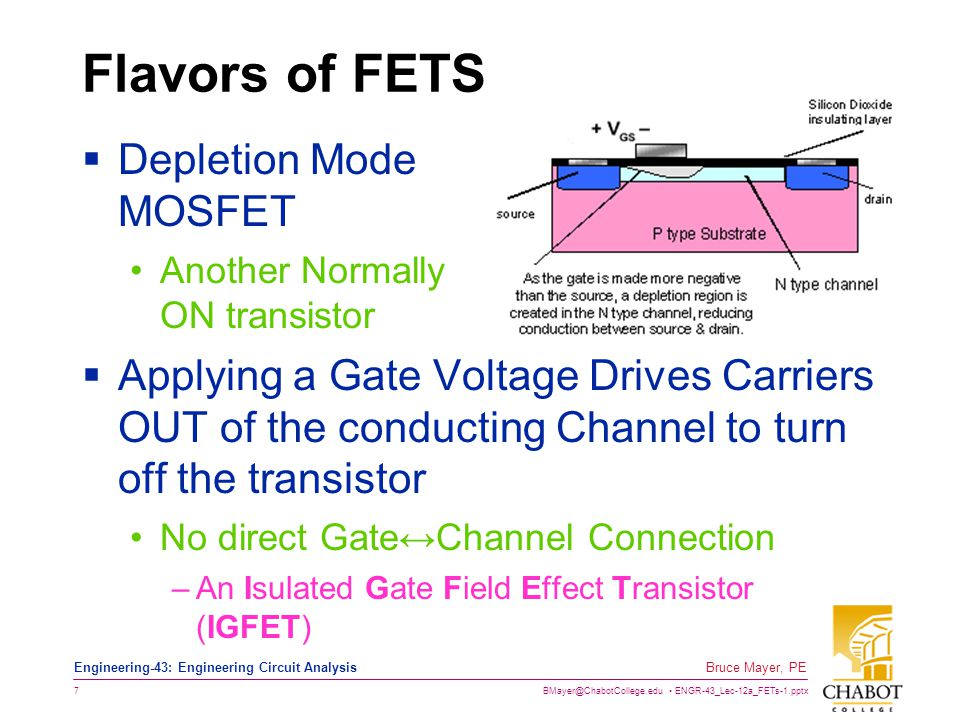 BMayer@ChabotCollege.edu ENGR-43_Lec-12a_FETs-1.pptx 18 Bruce Mayer, PE Engineering-43: Engineering Circuit Analysis CutOff Summarized V GS < V to No Drain Current Flows