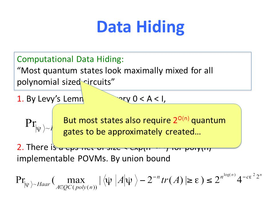 Data Hiding Computational Data Hiding: Most quantum states look maximally mixed for all polynomial sized circuits 1. By Levys Lemma, for every 0 < A <