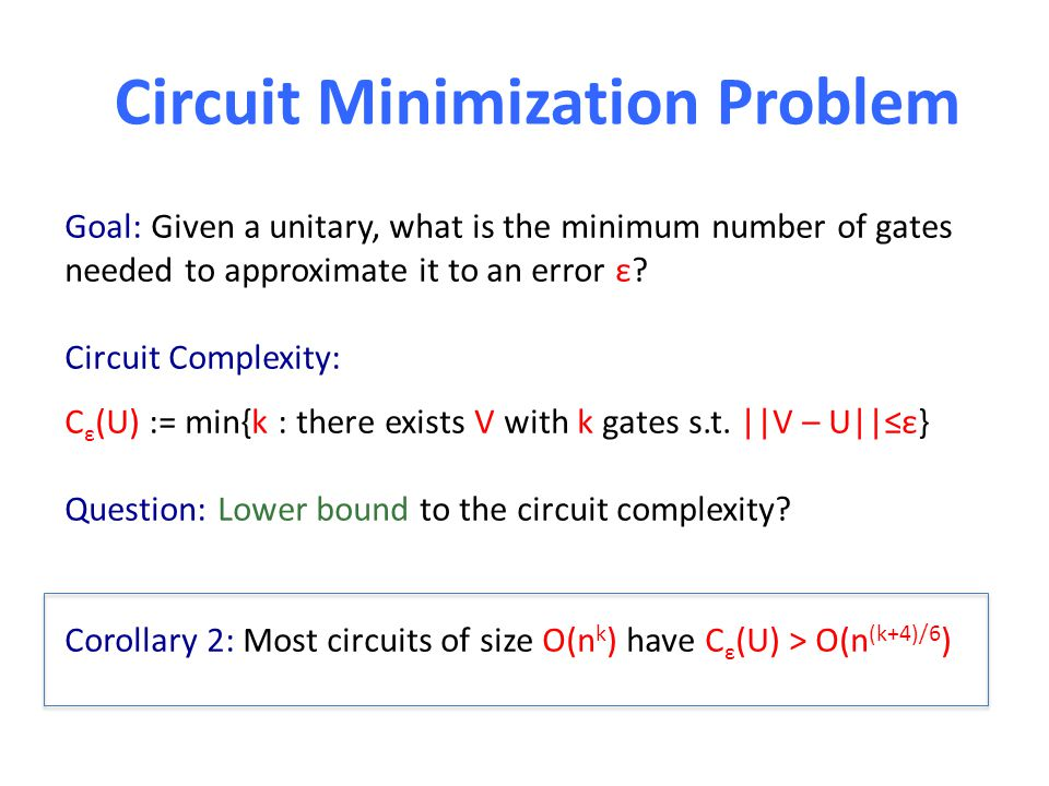 Circuit Minimization Problem Goal: Given a unitary, what is the minimum number of gates needed to approximate it to an error ε? Circuit Complexity: C